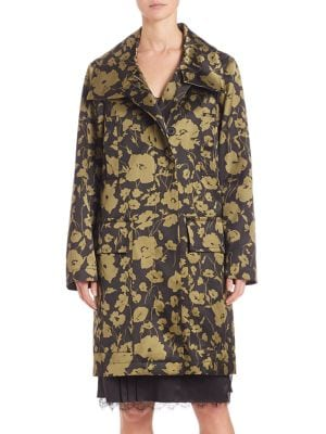 Floral Print Angora Blend Coat by Michael Kors Collection
