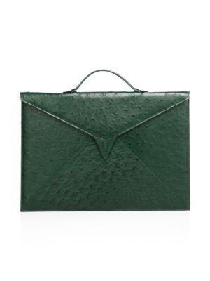 ETHAN K Sir Tillman Ostrich Briefcase in Sencha Green