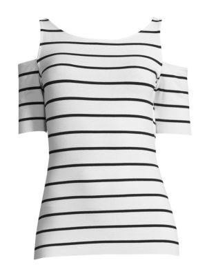 Bailey 44 Striped Cold Shoulder Deneuve Top