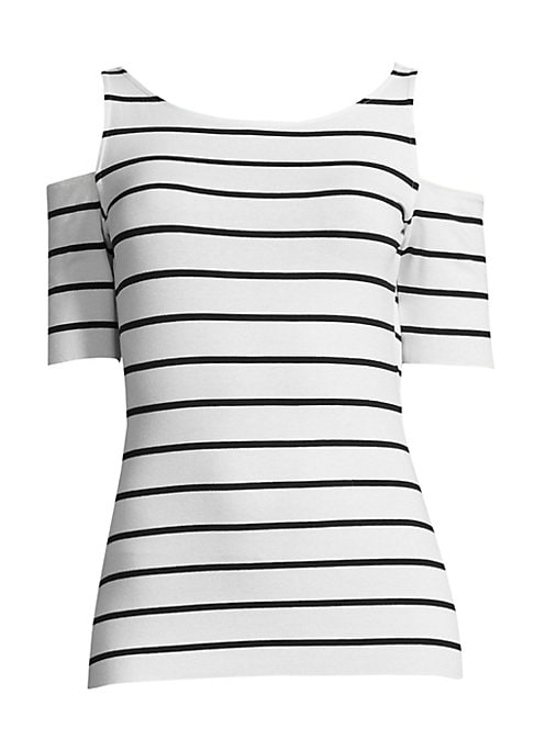 """Image of Chic stripes update this stretch jersey top. Boatneck. Cold-shoulder. Short sleeves. Pullover style. About 23"""" from shoulder to hem. Rayon/spandex. Dry clean. Imported. Model shown is 5'10"""" (177cm) wearing US size Small."""