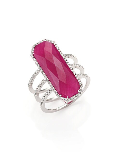 Image of Bold center ruby and triple row of diamond pave. Diamonds, 0.37 tcw. Ruby.14k white gold. Silver. Imported.