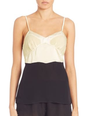 """Image of Colorblock camisole in washed silk georgette with soft charmeuse accents.V-neck. Adjustable spaghetti straps. Darts at cups. Pullover style. About 24"""" from shoulder to hem. Silk. Hand wash. Made in USA of imported fabric."""