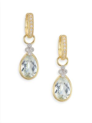 JUDE FRANCES Provence Diamond, White Topaz & 18K Yellow Gold Earring Charms