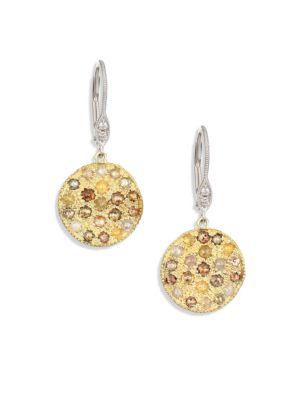 White Diamond, Rough Diamond, 14K Yellow Gold & 14K White Gold Drop Earrings, Gold-Multi