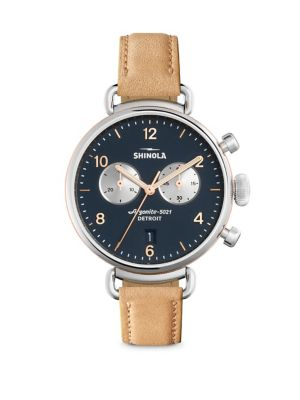 Shinola Runwell Natural Aniline Latigo Leather Strap Watch