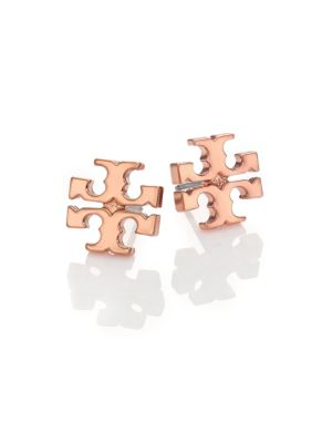 Tory Burch T Logo Stud Earrings Rose Goldtone