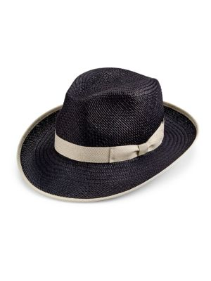 "Image of Classic fedora styling with contrast trim. Grosgrain ribbon detail. Brim, 2.75"".Straw. Made in Italy."