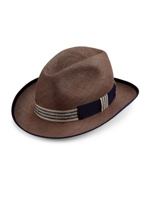 "Image of A classic hat shape in timeless woven straw. Striped ribbon detail. Brim, 2.4"".Straw. Made in Italy."