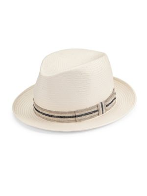 "Image of A tonal striped ribbon adorns this handmade hat. Grosgrain ribbon detail. Brim, 2"".Straw. Made in Italy."