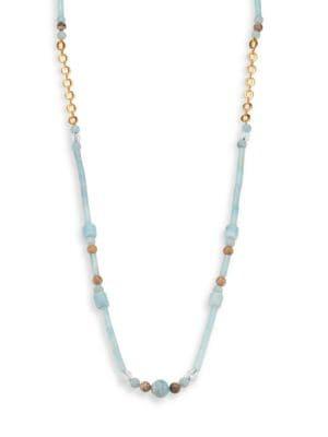 Lavish Blue Amazonite, Fossil Coral & White Quartz Beaded Long Necklace