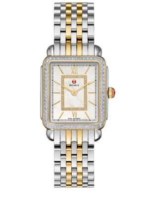 Michele Watches Deco Ii 16 Diamond Mother Of Pearl Two Tone Stainless Steel Bracelet Watch
