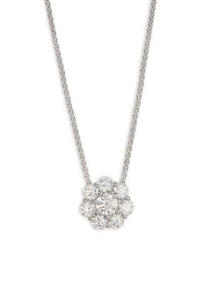 HEARTS ON FIRE Beloved Diamond Flower & 18K White Gold Pendant Necklace