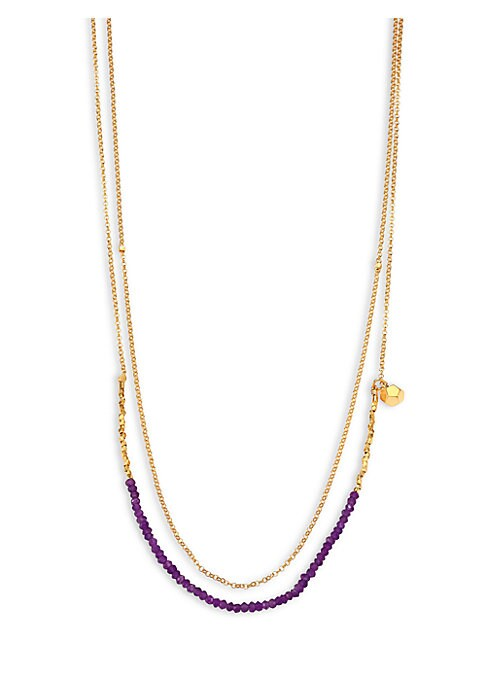"Image of From the Biography Collection. Delicate beaded design for wearing around neck or as wrap bracelet. Stones symbolize transformation. Amethyst.18k goldplated sterling silver. Signature lapis lazuli detail at clasp. Length, 27"".Lobster clasp. Imported."