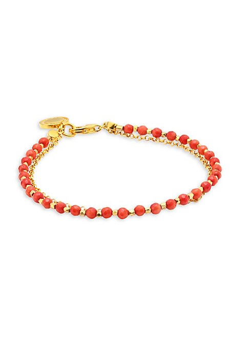 "Image of Double-strand bracelet with hand-cut red agate and disc charm.18K yellow goldplated silver. Cultured white sapphire & red agate. Length, about 7.25"".Lobster clasp. Imported."