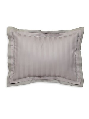 "Image of A yarn-dyed jacquard stripe sateen with a traditional bourdon stitch. 16""W X 12""H Cotton Machine wash Made in France. Gifts - Bed And Bath > Saks Fifth Avenue. Anne De Solène. Color: Brume."