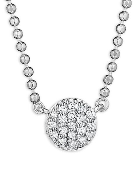 Micro Infinity Diamond & 14K White Gold Pendant Necklace