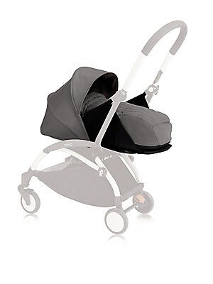 "Image of Customizable pop-up canopy and seat pad for the Yoyo+ stroller frame. Fully reclined newborn nest with 5-point harness Pop-up canopy Recommended for ages 0 to 6 months 38"" X 48"" X 11"" Nylon Machine wash Imported Please note: Stroller frame sold separately"