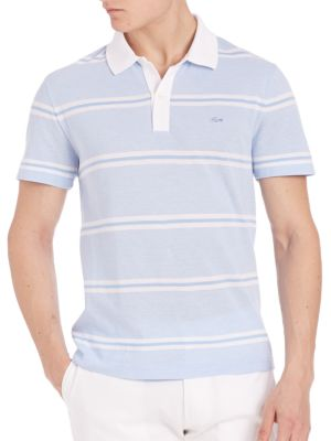 Image of Comfy polo shirt with pique stripes in a refined look. Ribbed polo collar. Front button placket. Short sleeves. Cotton. Machine wash. Imported.
