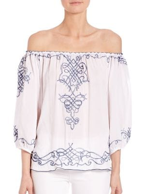 Abel Off-Shoulder Embroidered Top by Poupette St Barth