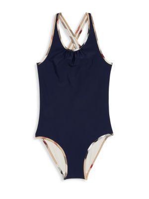 Little Girls  Girls Onepiece CheckTrim Swimsuit