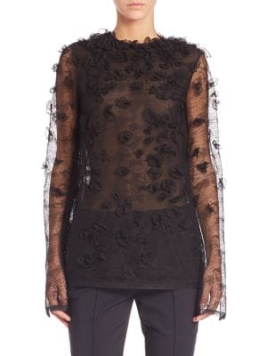 Embroidered Houndstooth Lace Top by Jason Wu