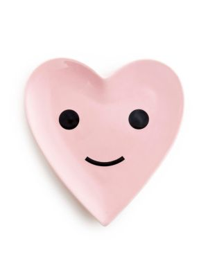 "Image of Cheerful heart-shaped ceramic tray to hold your jewelry.4.75""W x 5.25""L.Ceramic. Imported."