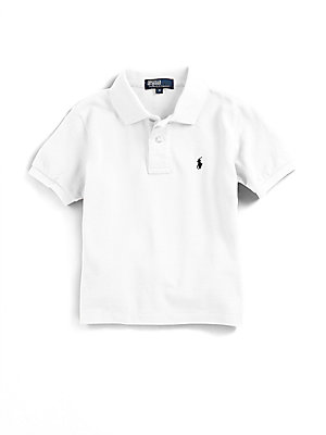 Image of Classic, short-sleeve cotton mesh polo with embroidered polo pony on the chest. Ribbed polo collar and armbands Button placket Machine wash Imported. Children's Wear - Ralph Lauren Boys. Ralph Lauren. Color: Black. Size: S (8).