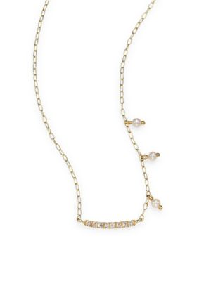 MEIRA T Diamond & Pearl Bar Pendant Necklace in Yellow Gold