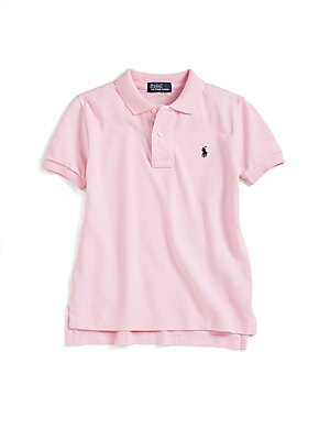 Image of Classic, short-sleeve cotton mesh polo with embroidered polo pony on the chest. Polo collar Short sleeves Button placket Split hem Pullover style Cotton Machine wash Imported. Children's Wear - Ralph Lauren Boys. Ralph Lauren. Color: Red. Size: 3.