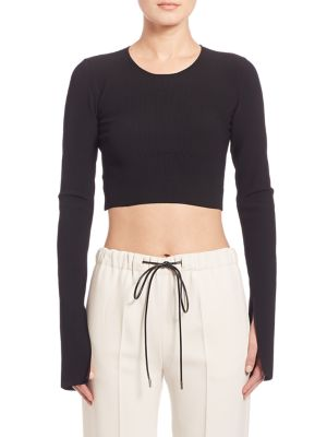 Bao Long-Sleeve Ribbed Knit Crop Top by Calvin Klein Collection