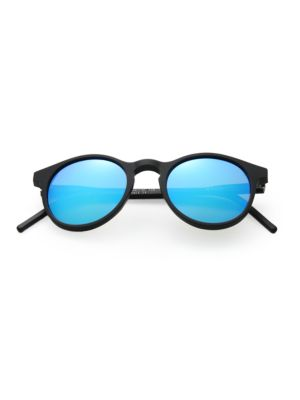 KYME Miki 48Mm Round Sunglasses in Black Blue