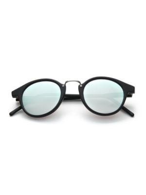 KYME Frank 46Mm Round Pantos Mirror Sunglasses in Black-Silver