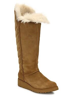 4748fc5af Ugg - Rosalind Shearling & Suede Tall Foldover Wedge Boots - saks.com