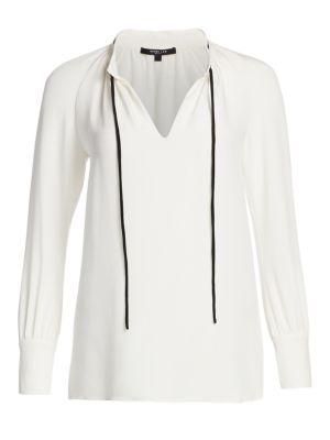 Long-Sleeve Tie-Neck Silk Blouse by Derek Lam