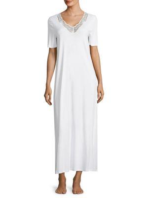 Hanro Valencia Lace-trimmed Cotton Gown In White