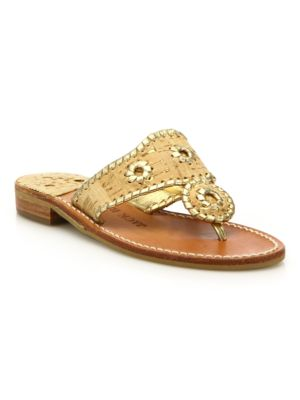 JACK ROGERS Napa Valley Cork & Leather Sandals in Cork Gold