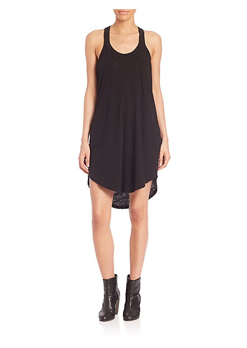 """Image of A sophisticated trapeze dress in a comfortable fit. Scoopneck. Sleeveless. Hi-lo hem. Racerback. Cotton. Machine wash. Imported. Model shown is 5'10"""" (177cm) wearing US size Small."""
