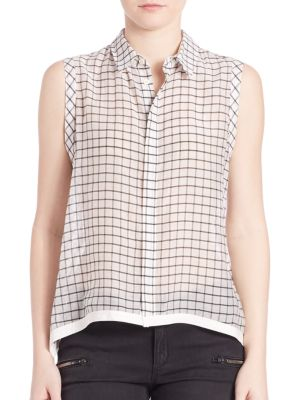 Windowpane Check Blouse by Superfine