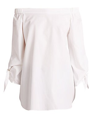 c702b72288736 Tibi - Satin Poplin Off-The-Shoulder Top - saks.com