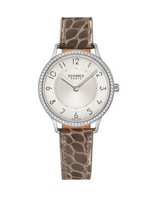 HERMÈS WATCHES Slim D'Hermès Pm Diamond, Stainless Steel & Alligator Strap Watch in Smooth Elephant Grey