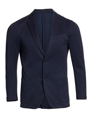 """Image of .Distinguished solid blazer exudes sophistication. Notched lapels. Front two-button closure. Chest welt pocket. Long sleeves with three-button cuffs. Waist flap pockets. About 29"""" from shoulder to hem. Lined. Wool. Dry clean. Imported."""