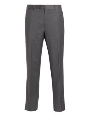 """Image of .Expertly designed trousers crafted from wool blend. Belt loops. Zip fly with button closure. Slash pockets. Back buttoned welt pockets. Unfinished hem. Rise, about 11"""".Leg opening, about 16"""".Wool. Dry clean. Imported."""