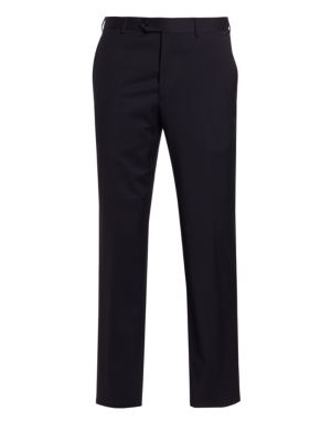 "Image of .Brilliantly designed trousers make a style statement. Banded waist. Belt loops. Zip fly with button closure. Slash pockets. Back buttoned welt pockets. Unfinished hem. Rise, about 11"".Leg opening, about 16"".Wool. Dry clean. Imported."