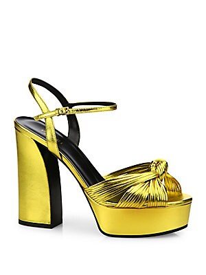27959913142 Gucci - Allie Knotted Metallic Leather Platform Sandals - saks.com