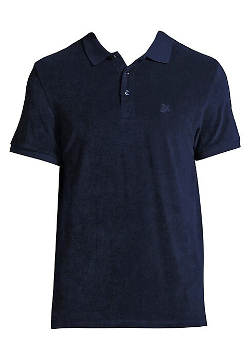 """Image of Fashionably designed polo shirt offers comfort. Ribbed polo collar. Front button placket. Short sleeves with ribbed cuffs. About 27"""" from shoulder to hem. Cotton/polyamide. Machine wash. Made in Italy."""