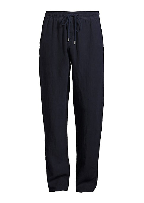 """Image of Drawstring pant of breezy, featherweight linen. Drawstring waist. Side slash pockets. Back flap pocket. Pull-on style. Inseam, about 33"""".Linen. Machine wash. Imported."""