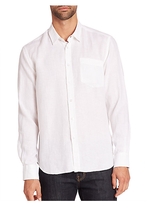 "Image of Comfort meets casual looks in this versatile shirt. Spread collar. Front button closure. Chest pocket. Long sleeves with buttoned cuffs. Shirttail hem. About 29"" from shoulder to hem. Linen. Machine wash. Imported."