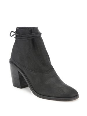 LD TUTTLE The Vow Suede Block Heel Ankle Boots in Black