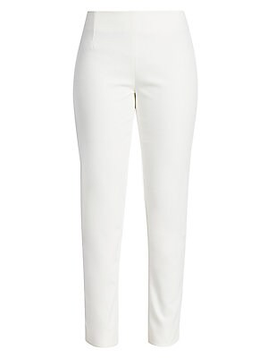 "Image of Classic straight-leg pant of superior stretch twill Self waist Concealed side zip Rise, about 11"" Inseam, about 30"" Cotton/elastane/polyamide Contrast: Polyester Dry clean Made in USA of Italian fabric Model shown is 5'10"" (177cm) wearing US size 4. Desig"