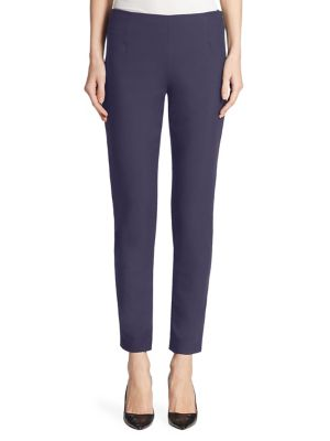 LELA ROSE 'Catherine' Stretch Twill Ankle Pants in Navy